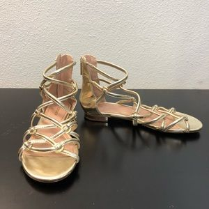 Top Shop Gold Strappy Sandal Shoes